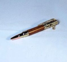 Handcrafted Mini 30 Caliber Bolt Action Pen 24K by RoweWoodcraft (Home & Living, Office, Office & School Supplies, Woodworking, Office, Pen, writing instrument, office supply, promotion, graduation, retirement, desk accessory, Made in USA, groomsmen gift, gift, 24k gold)