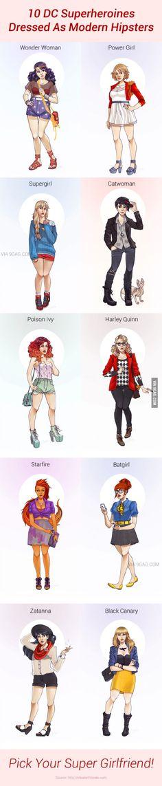 10 DC Superheroines Dressed As Modern Hipsters