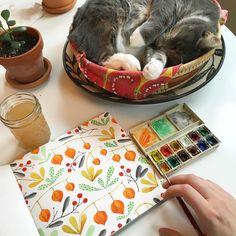 Kirsten Sevig: So I thought I'd share this cute moment that just happened. It is a cozy overcast Sunday here, and Eyja has taken over the bread basket once again as I sit and paint at the kitchen table.