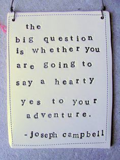 The big question is whether you are going to say a heart yes to your adventure - Joseph Campbell