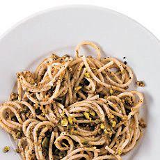 Pasta with Pistachio Pesto Recipe - Bon Appétit & ZipList Pistachio Recipes, Pistachio Pesto, Mint Recipes, Vegetarian Recipes, Cooking Recipes, Healthy Recipes, Cooking Pasta, Autumn Pasta Recipes, Lotsa Pasta