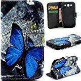 S3 Case Galaxy S3 III i9300 Flip CaseGift_Source [Stand Feature] Case Wallet [Wallet S] Premium Wallet Case Flip Cover for Samsung Galaxy S3 III i9300  Blue Butterfly Pattern 1 X Screen Protector and Stylus Pen
