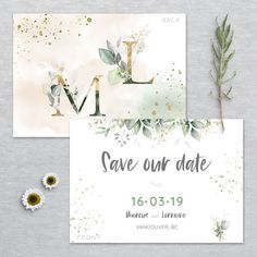Wedding Stationery, Wedding Invitations, Save The Date Templates, Watercolor Design, Printing Services, Thank You Cards, Colorful Backgrounds, Greenery