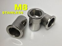 Aluminium stainless rivet nut 55pcs kit  M3 M4 M5 M6 M8  Stainless steel + Aluminium  rivet nut Flat head Ribbed body Open end