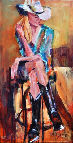 """Cowgirl Time"" Acrylic on Canvas #cowgirl #art #southwest #boots"