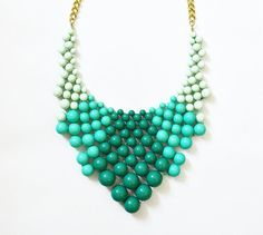 Bauble Necklace - Ombre Necklace - Green Necklace - Statement Necklace - Kate Spade Bauble - Turquoise- Anthropologie Inspired- Ship from US