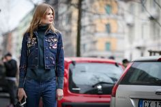 70+ Photos Of Milan's Most Over-The-Top Street Style #refinery29  http://www.refinery29.com/2016/03/104781/milan-fashion-week-fall-winter-2016-street-style-pictures#slide-18  Let enamel pins and patches make your denim jacket feel more personal....