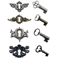Keep your creative secrets locked away with these ornately designed and unique locket keys. Secure this combination of detailed, three-dimensional keyholes and matching decorative keys with the included mini fasteners.