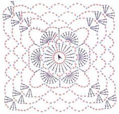 Crochet: basic daisy granny square pattern (diagram or chart)! Crochet Diy, Crochet Motifs, Crochet Blocks, Love Crochet, Crochet Flowers, Crochet Stitches, Point Granny Au Crochet, Granny Square Crochet Pattern, Crochet Diagram