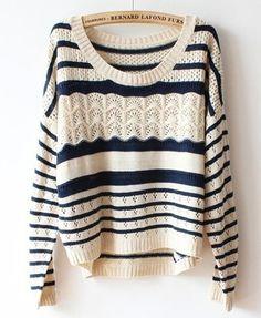 Beige Batwing Sleeves Sweater In Stripe Print - Polyvore