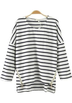 White Striped Zipper Long Sleeve Sweater- love the side sip detail.