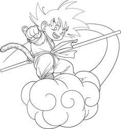 Dragon ball anime Goku and Gohan coloring pages for kids ...