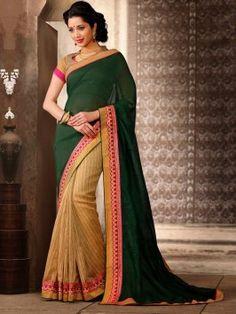 Green Silk Saree With Zari Work