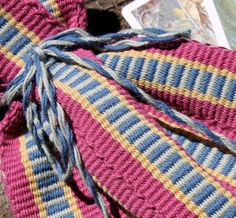 Tarot Card Bag Pink Blue Mint Hand Woven by inkleing on Etsy