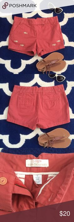 """J.Crew Shorts • 3"""" Broken-in Chino Shorts J. Crew Broken In Chino Shorts • It's always warm and sunny somewhere, so make sure to scoop up everyone's favorite classic chino short !   Pink • Mauve • Salmon 100% Cotton Sits just above hip 3"""" inseam Zip fly Slant pockets, back welt pockets J. Crew Shorts"""