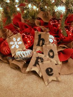 burlap christmas decorations | Burlap ornaments -HOPE- Christmas | Christmas/New Year's