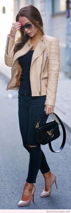 Black Skinny Jeans and Tee, Buttery Leather Moto Jacket on imgfave