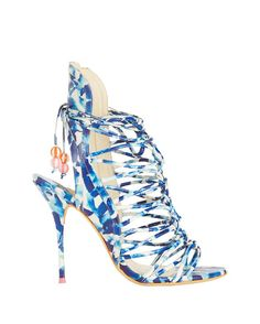Sophia Webster Lacey Oceana Beaded Beachball Lace Up Sandal: A high ankle sandal with a caged strappy cut out look laces up at the vamp with beachball inspired beaded embellishments. Side zip closure. 4 1/2 heel. Leather sole. In ocean blue.   Made in ...
