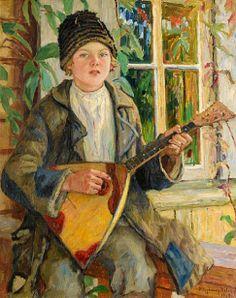 Boy With Balalaika - Nikolai Bogdanov-Belski (1868-1945, Russian)