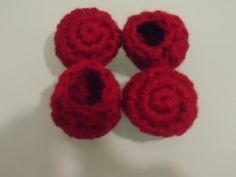 For this set, she used Caron One Pound, Crochet Chair Socks (Bottle Cap Style) Free Pattern Materials: Worsted weight yarn, Size H hook Pattern:     1. Work 6 sc in a magic ring. Do not join. (6)  2.Continue working in the round,   2. sc in each st around. (12)    3. (2 sc in next st, sc in next st) Repeat pattern around. (18)   4. (sc2tog in next st, sc in next st) Repeat pattern around. (12)     5.Repeat 4. Sl st in next st. Fasten off. (8)  Weave in ends