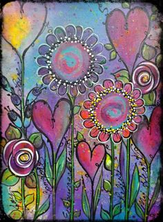 """Intuitive painting, """"What does your Garden Grow?"""" Artwork by Tracey White rosepetalspast.blogspot.com.au"""