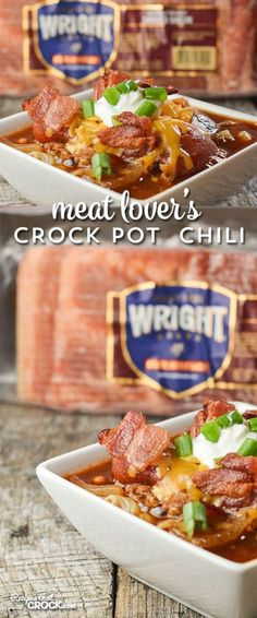 Crock Pot Meat Lover's Chili is perfect for any meat lover. 3 different meats slow cook together to create a wonderful flavor that is unlike any other! #ad #boldbacon