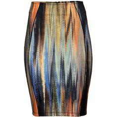 H&M Pencil skirt (25,975 KRW) ❤ liked on Polyvore featuring skirts, bottoms, orange, black jersey skirt, print pencil skirt, h&m, jersey pencil skirt and jersey skirt
