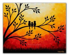 Sunset painting Family of birds art, Giclee print of Original painting, Yellow orange red canvas art Birds on tree wall art print Dies ist Fine Art Giclée-Druck von meinem Original-Gemälde Wertschätzung die Momente Diese Famil Tree Wall Art, Canvas Wall Art, Diy Canvas, Acrylic Canvas, Easy Canvas Painting, Painting Walls, Painting Art, Acrylic Paintings, Sunset Painting Easy