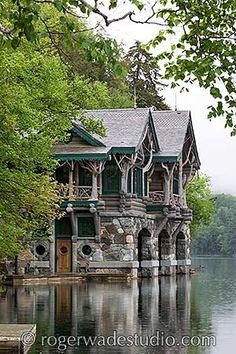 A boathouse at Topridge in the Adirondacks, once owned by Marjorie Merriweather Post. Photo Roger Wade.