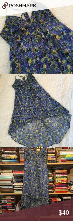 """BCBG dress Lined high-low BCBG dress. Great condition. This dress reminds me of van Gogh's """"The Starry Night"""" - they have a similar look and color scheme. BCBG Dresses High Low"""
