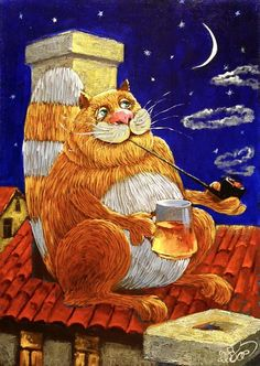 Cat at night painting. Art And Illustration, Anton, Decoupage, Son Chat, Gatos Cats, Ecole Art, Expositions, Cat Drawing, Cartoon Drawings