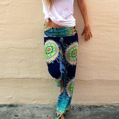 Barato Cintura alta mulheres esporte calças boêmio da cópia Floral ampla perna calças soltas calças compridas, Compro Qualidade Calças diretamente de fornecedores da China:                                                          &nb