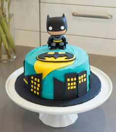 Batman cake with white chocolate buttercream (coloured blue)