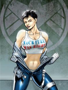 Agent and Deputy Director, Maria Hill. I'm thinking Maria lost a bet with Fury here… Maria Hill, Comic Book Characters, Comic Books Art, Comic Art, Lady Sif, Female Avengers, New Avengers, Marvel Girls, Comics Girls