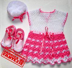 rochita tricotata cu fundite, rochite, totosi, palarie, crosetat, tricotat, copii, Fabrica de Fantezie