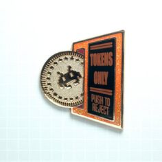 Tokens Only Enamel Pin (Two styles) - Retro Gaming Arcade Throwback Red Glitter Background, Retro Arcade, Hard Enamel Pin, Your Cards, Gaming, Copper, Kid, Posts, Game