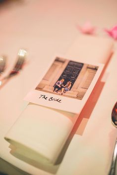 Polariod Place Name Setting Origami Books Barn Wedding http://storyandcolour.co.uk/