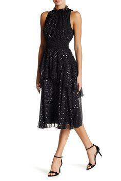 Sleeveless Silk Blend Dot Dress
