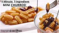 3 Ingredient MINI CHURROS ! EASY Churros Recipe / How to make MINI CHURROS! - YouTube Dessert Dips, Party Desserts, No Bake Desserts, Dessert Recipes, Fried Donuts, Doughnuts, Easy Churros Recipe, Beautiful Desserts, Recipes From Heaven