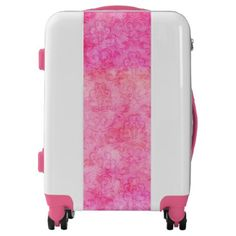 Hot Pink Bright Watercolor Damask Luggage - hot damask gifts custom personalize