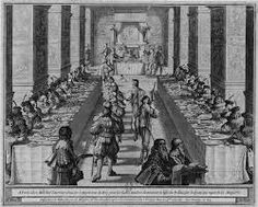 Banquet of the Knights of the Order of the Holy Spirit, Fontainebleau, 1633, Dutch school, Abraham Boss etching