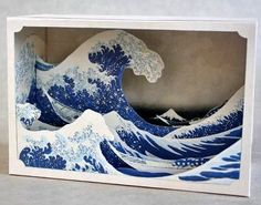 Tatebanko - Great Wave Tatebanko is the forgotten Japanese art of paper diorama Ocean Diorama, Arte Pop Up, Tunnel Book, Diy Shops, Kirigami, Art Plastique, Teaching Art, Elementary Art, Papercraft