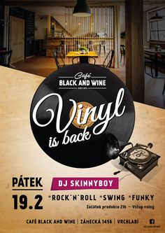 Party poster for Café Black and Wine Vrchlabi.