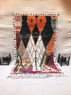 Tapis marocain tapis abstrait tapis arc-en-ciel tapis boho | Etsy