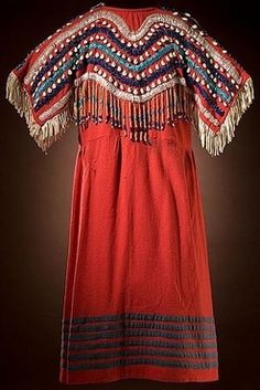 american indian dress designs | Plateau beaded wool dress, yoke decorated with lanes of snap beads and ...