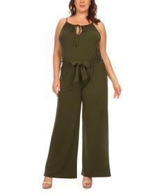 Take a look at this BellaBerry USA Olive Tie-Waist Wid-Leg Jumpsuit - Plus today!