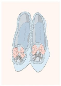 blue, bows, drawing, fashion, girly, illustration, lacy, marie antoinette, pink, pretty, rhinestones, shoes, sierrasometimes