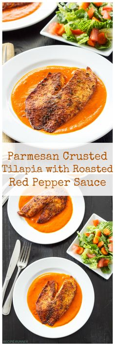 Parmesan Crusted Tilapia with Roasted Red Pepper Sauce - Recipe Runner