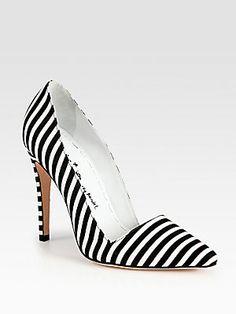 Alice + Olivia Striped Canvas #Pumps. Oh how I love black & white #stripes
