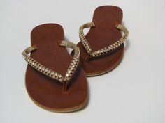 SALE ! Brown leather sandals SWAROVSKI Sandals - Women Sandals - BOHO sandal - Handmade Sandal - Greek Sandal - Flat Sandal - Wedding Sandal